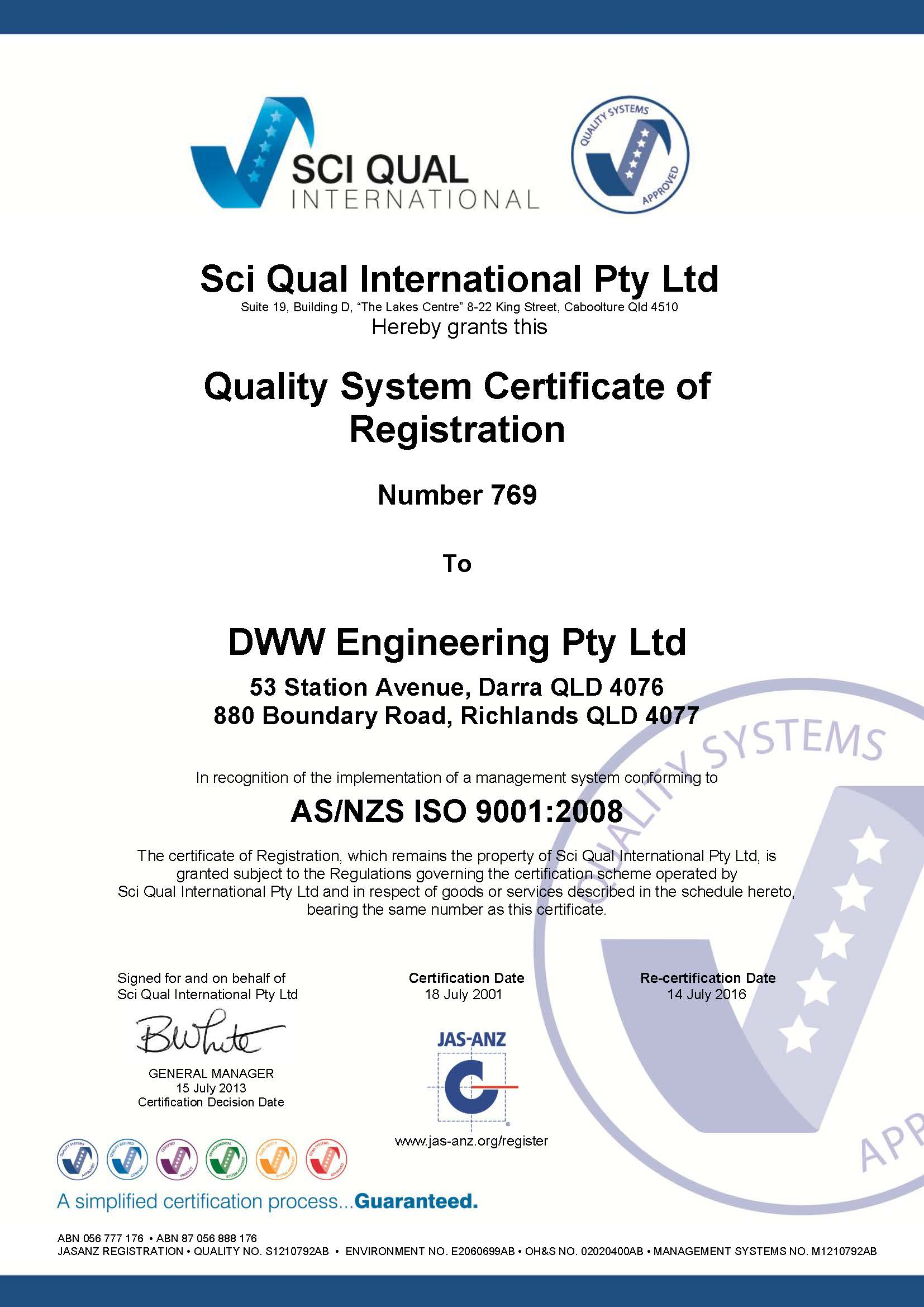 Qa Certificate Untill 2016page1 Dww Engineering